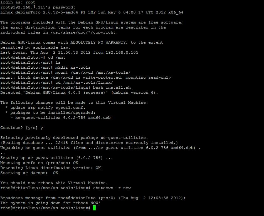 Image Installation XenTools sur Debian 6.0.5